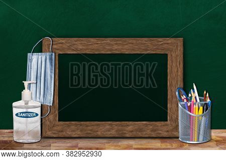 Covid-19 New Normal Education Back To School Concept In The Classroom Setting Showing Framed Chalkbo