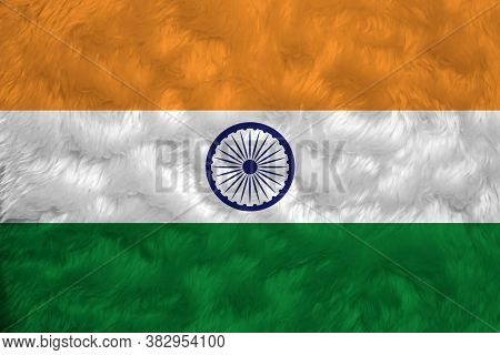 Towel Fabric Pattern Flag Of India, Crease Of Indian Flag Background, Tricolor Of India Saffron, Ora