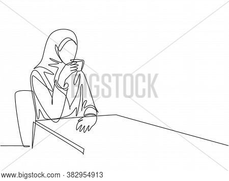 One Single Line Drawing Of Young Beauty Female Muslimah Worker Enjoying Drink A Cup Of Coffee At Cof