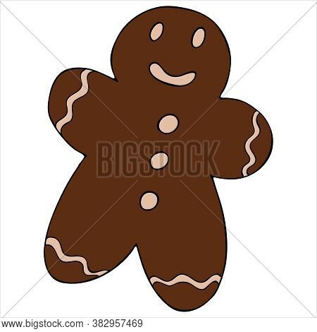 Christmas Gingerbread With Man Shaped Confectionery Icing, Cute Winter Doodles, Vector Set Of Doodle