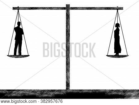 A Balance Scale Is Dead Level As It Weighs Two People In This Illustration About All Lives Matter An