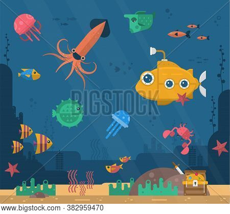 Underwater Background With Various Sea Views. Underwater Scene. Cute Sea Fishes Ocean Underwater Ani