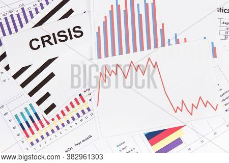 Downward Graphs Representing Financial Crisis Caused By Coronavirus. Risk Of Global Recession Around