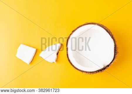 Happy Coconuts Day Concept, Fresh Coconut Group Set Different Half And Slices, Studio Shot Isolated