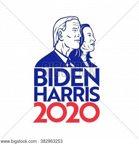 Aug 30, 2020, Auckland, New Zealand: Illustration Of American President And Vice President Candidate