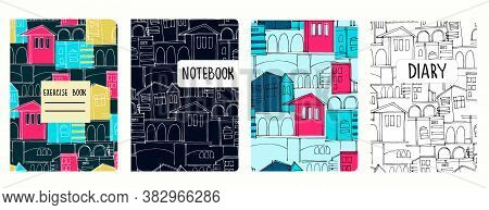 Set Of Cover Page Vector Templates Based On Seamless Patterns With Cityscapes, Historic Buildings, A