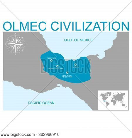 Vector Map With Heartland Of Olmec Civilization For Your Design