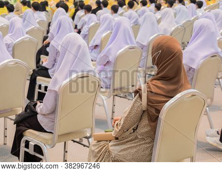 Chair In Classroom And Student Muslims  Have Social Distance Protect Outbreak Coronavirus Or Covid-1