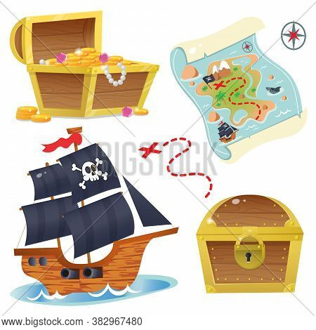 Pirate Ship. Treasure Chest. Pirate Coffer With Gold And Jewels. Closed Coffer With Lock.  Treasure