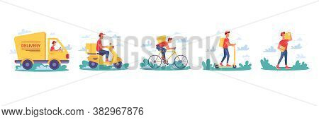 Delivery Service, Couriers Delivering Parcel Boxes On Bicycle And Moped Scooter, Vector Isolated Fla
