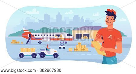 Delivery Logistics By Airplane, Parcels Shipping And Warehouse, Vector Flat Design. Avia Delivery, C