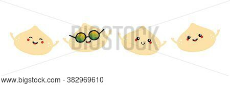 Set, Collection Of Cute Smiling Macadamia Nuts Characters For Healthy Food Design.