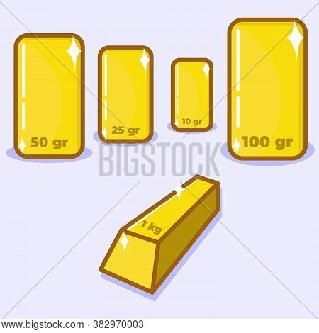 Simple Vector Illustration Of Gold With Various Size. Gold Investment. Rich People. Successful Life.