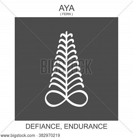 Vector Icon With African Adinkra Symbol Aya. Symbol Of Defiance And Endurance