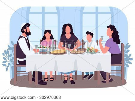 Jew Culture 2d Vector Web Banner, Poster. Parents And Children Eat Food At Table. Jewish Family Flat