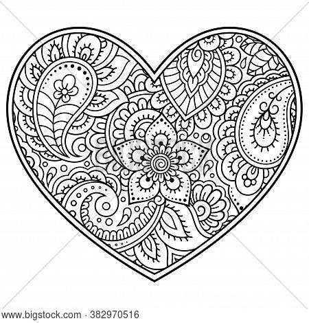 Mehndi Flower Pattern In Form Of Heart For Henna Drawing And Tattoo. Decoration In Ethnic Oriental,