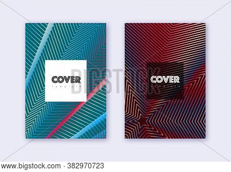 Hipster Cover Design Template Set. Red White Blue Abstract Lines On Dark Background. Curious Cover D