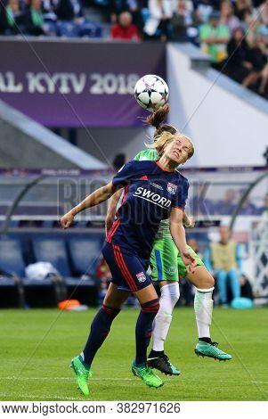 Kyiv, Ukraine - May 24, 2018: Ada Hegerberg Of Olympique Lyonnais Fights For A Ball With Vfl Wolfsbu