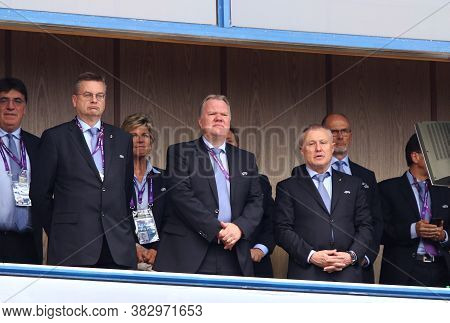Kyiv, Ukraine - May 24, 2018: Uefa Vice-presidents Reinhard Grindel (l), Karl-erik Nilsson (c) And G