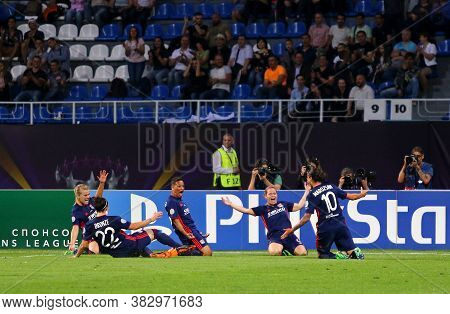 Kyiv, Ukraine - May 24, 2018: Olympique Lyonnais Players React After Scored Goal During The Uefa Wom
