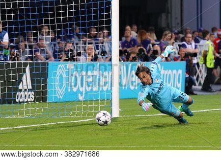 Kyiv, Ukraine - May 24, 2018: Goalkeeper Sarah Bouhaddi Of Olympique Lyonnais Misses A Goal During T