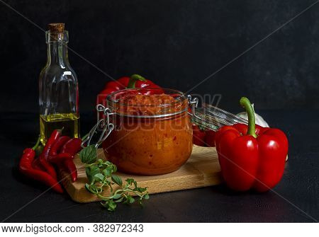 Roasted Red Pepper Relish Ajvar Or Aivar. Traditional Balkan Vegetable Caviar, Lutenitza, Pingjur Wi