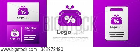 Logotype Purse Money Percent Icon Isolated On White Background. Percent Loyalty Wallet Sign. Logo De