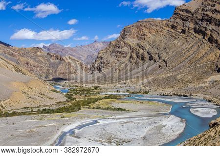 Himalayan Mountain Landscape Along Leh To Manali Highway. Blue River And Rocky Mountains In Indian H