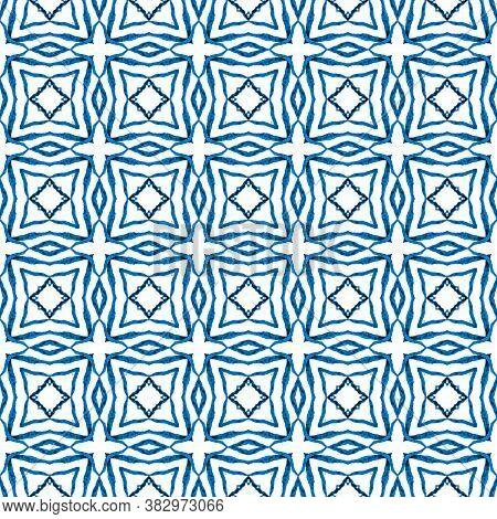 Ikat Repeating  Swimwear Design. Blue Dramatic Boho Chic Summer Design. Textile Ready Emotional Prin