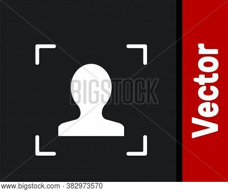 White Face Recognition Icon Isolated On Black Background. Face Identification Scanner Icon. Facial I