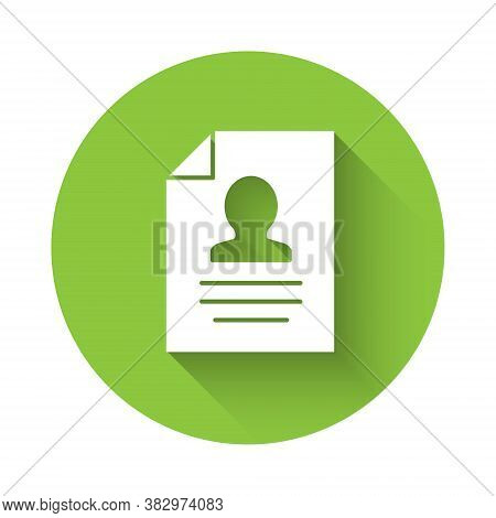 White Resume Icon Isolated With Long Shadow. Cv Application. Searching Professional Staff. Analyzing