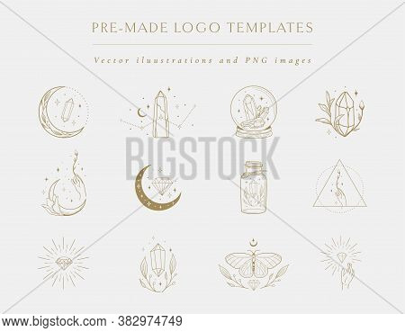 Gemstones Collection Of Vector Hand Drawn Logo Design Templates And Elements, Geometric Frames, Deco