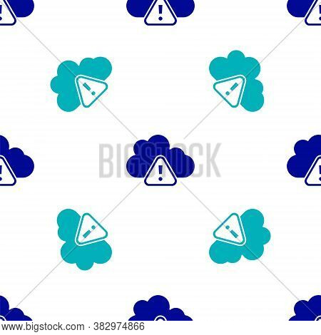 Blue Storm Warning Icon Isolated Seamless Pattern On White Background. Exclamation Mark In Triangle