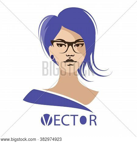 The Image Of A Girl With Blue Hair. Vector Illustration Of A Girl. Womens Haircut And Blue Hair. Gir