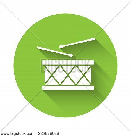 White Musical Instrument Drum And Drum Sticks Icon Isolated With Long Shadow. Green Circle Button. V
