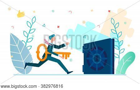Growth Of Funds, Enrichment, How To Open A Safe With Savings, A Businessman With A Key Near The Safe