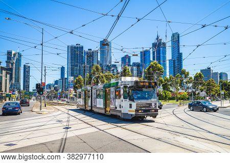 January 2, 2019: Melbourne Tram, Major Form Of Public Transport, In Melbourne, Australia