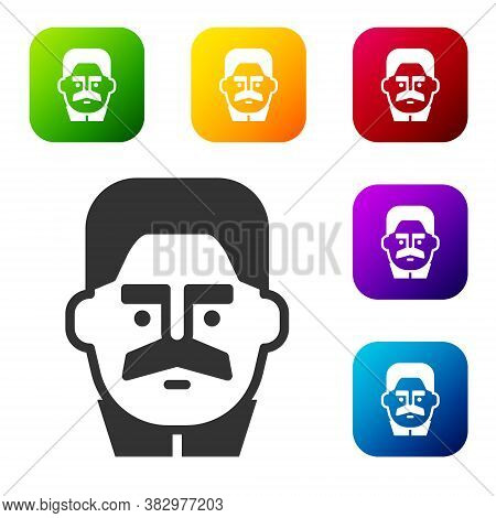 Black Portrait Of Joseph Stalin Icon Isolated On White Background. Set Icons In Color Square Buttons