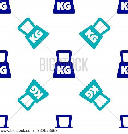 Blue Weight Icon Isolated Seamless Pattern On White Background. Kilogram Weight Block For Weight Lif