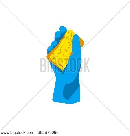 Hand In Blue Rubber Glove With Sponge. Cleaning Service, Housework, Dishwashing, Hygiene Cleanup Cho