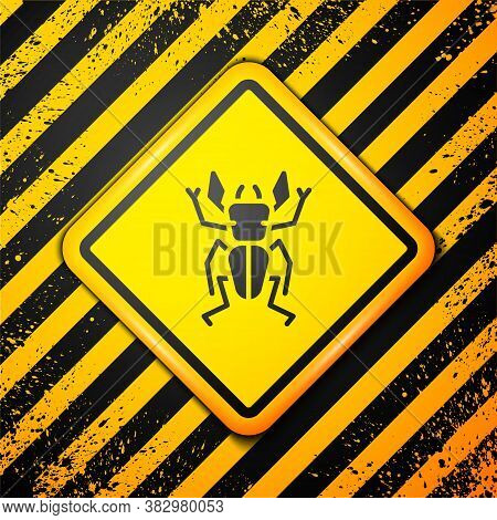 Black Beetle Deer Icon Isolated On Yellow Background. Horned Beetle. Big Insect. Warning Sign. Vecto