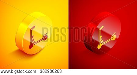 Isometric Roller Scooter For Children Icon Isolated On Orange And Red Background. Kick Scooter Or Ba