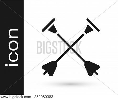Black Arrow With Sucker Tip Icon Isolated On White Background. Vector