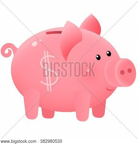 Color Image Of Cute Piggy Bank Or Moneybox On White Background. Money And Finance. Vector.