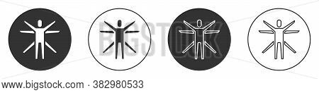 Black Vitruvian Man By Leonardo Da Vinci Icon Isolated On White Background. Human Anatomy. Circle Bu