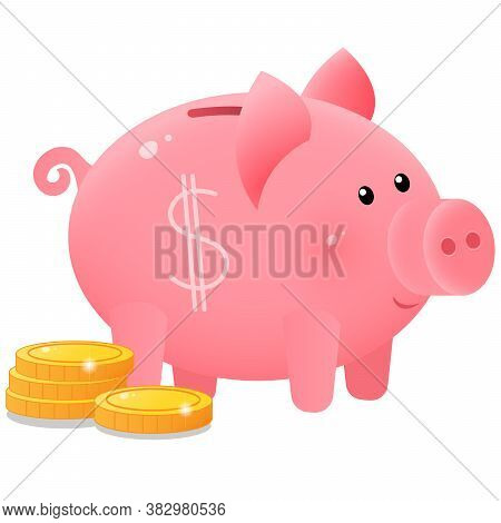 Color Image Of Cute Piggy Bank Or Moneybox With Coins On White Background. Money And Finance.