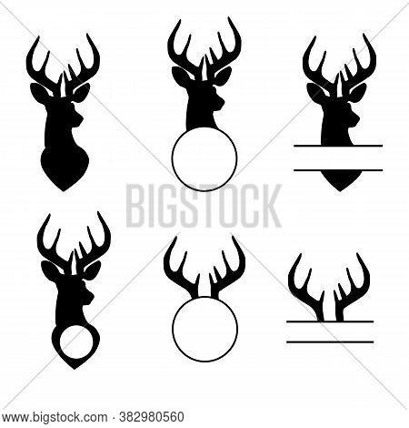 Deer Monogram, Wild Animal Sign, Black Buch Head, Hunting Split Nonogram On White Background. Flat S