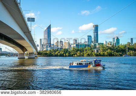 December 20, 2018: Ferry Cruise On Brisbane River With City Skyline Background In Brisbane, Australi