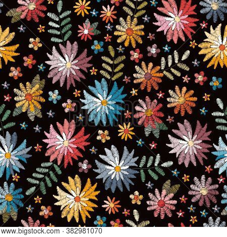 Embroidety Seamless Pattern With Colorful Flowers On Black Background. Fancywork Print. Bright Summe
