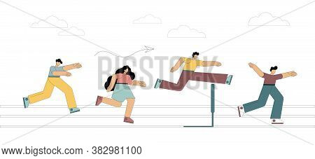 Running With Obstacles. Business Concept. People Run To The Distillation, Jump Over Hurdles. Flat St